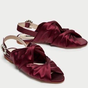 Zara Burgundy Satin Flat Slingback Sandals